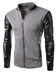 Men's Casual/Daily Simple Jackets,Color Block Round Neck Long Sleeve Spring Black Gray Cotton Medium