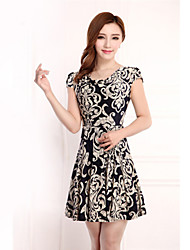 Women's Casual/Print/Plus Sizes Micro-elastic Short Sleeve Knee-length Dress (Chiffon/Polyester)