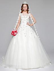Lanting Bride® Trapèze Robe de Mariage  Tout Simplement Superbe Longueur Sol Bateau Dentelle Tulle avec Perlage Dentelle