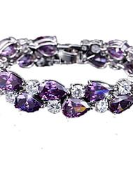 Femme Bracelets Rigides Zircon Cuivre Plaqué or Mode Blanc Noir Violet Bijoux 1pc