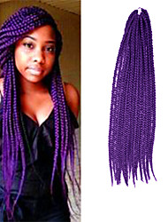Box Braids Twist Braids Dark Purple Hair Braids 24Inch Kanekalon 90g Synthetic Hair Extensions