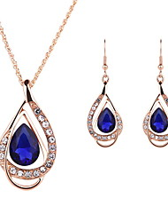Jewelry 1 Pair of Earrings Necklaces Crystal Imitation Ruby Wedding Party Crystal Alloy 1set Women Gold Wedding Gifts