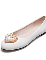 Women's Flats Spring Summer Fall Patent Leather Office & Career Casual Party & Evening Flat Heel Low Heel Rhinestone BeadingSilver Red