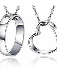 Couple's Pendant Necklaces Sterling Silver Basic Love Jewelry For Casual