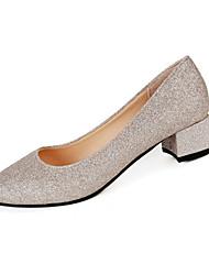 Damen-High Heels-Lässig-PU-Blockabsatz-Komfort-Schwarz Silber Gold