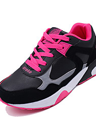 Women's Athletic Shoes Fall Winter Comfort PU Casual Low Heel Lace-up Black Blue Gray Orange Other