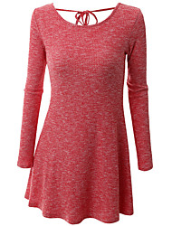 Women's Plus Size Going out Holiday Simple Cute Sophisticated A Line Sheath Sweater Dress,Solid Bow Criss-Cross Round Neck Above KneeLong