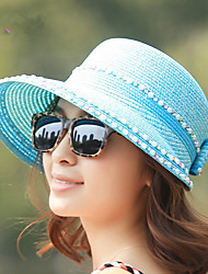 Fashion Inlaid Pearl Big Hat Woman Shade Anti - UV Beach Hat Straw Hat