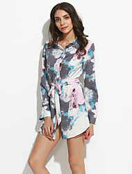Women's Casual/Daily Vintage / Chinoiserie Bandage Sheath DressFloral Shirt Collar Above Knee  Sleeve