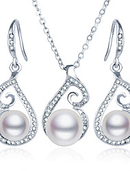 Fashion Jewelry Necklace Earrings Wedding Party Daily Casual Alloy Imitation Pearl Rhinestone 1set Wedding Gifts