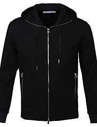Men's Going out Casual/Daily Simple Street chic Trench Coat,Solid Classic Collar Long Sleeve Spring Winter Black Cotton Medium