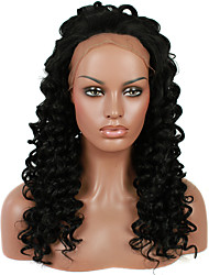 Dark Black Color Synthetic Lace Front Wigs Kinky Curly Hair With Middle Brown Lace Color Heat Resistant Synthetic Hair Fiber Wig For Fashion Woman