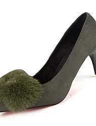 Women's Heels Spring Fall Other Fleece Office & Career Party & Evening Stiletto Heel Feather Chain Black Green Red
