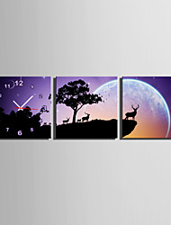 MINI SIZE E-HOME Forest Under The Moon Clock in Canvas 3pcs