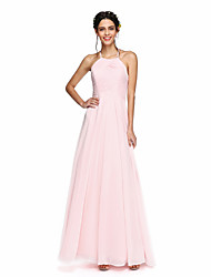 2017 Lanting Bride® Floor-length Lace / Georgette Bridesmaid Dress - Open Back A-line Jewel with Lace