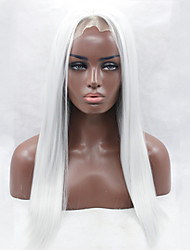 White Color Heat Resistant Synthetic Lace Front Wig Long Straight Hair Synthetic Hair Fiber Wigs