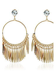 Dangle Earrings Diamond Zircon Gold Plated Leaf Gold Jewelry Wedding Party Casual 1 pair