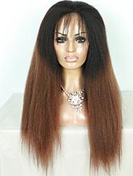 parrucca anteriore del merletto dei capelli vergini brasiliani crespi capelli lisci grado superiore ombre di due toni T1b / marrone colore