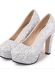 Women's Heels Spring Summer Fall Other Glitter Wedding Party & Evening Casual Chunky Heel Crystal Flower Red White Gold