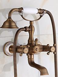New Arrival Rain Shower Faucets With Ceramic Mixer Tap Antique Brass Bath Shower Faucet Set Bathtub Faucet