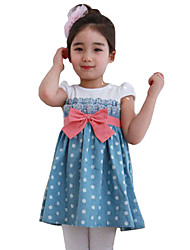 Girl's Cotton Fashion Sunshine Summer Going out Casual/Daily Patchwork Sweet Dot Short Sleeve Princess Dress