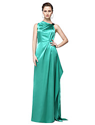 TS Couture Formal Evening Dress - Elegant Celebrity Style Sheath / Column One Shoulder Floor-length Stretch Satin with Pleats