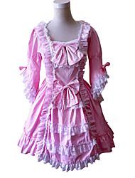 Uma-Peça/Vestidos Doce Rococo Cosplay Vestidos Lolita Rosa Cor Única 3/4 de Manga Longuete Vestido Para Feminino Algodão