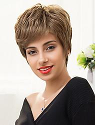 moda textura ligeiramente curto sem tampa em camadas perucas de cabelo humano em linha reta naturais