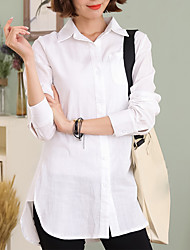 Women's Casual/Daily Work Simple Spring Fall Shirt,Solid Shirt Collar Long Sleeve White Linen Thin