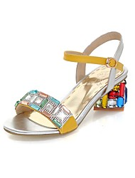 Women's Sandals Summer Comfort Ankle Strap PU Office & Career Party & Evening Casual Chunky Heel Crystal Buckle Split JointBlue Yellow