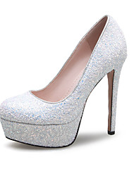 Women's Heels Glitter Spring Summer Fall Wedding Casual Party & Evening Sequin Stiletto Heel White Ruby Blushing Pink 5in & over