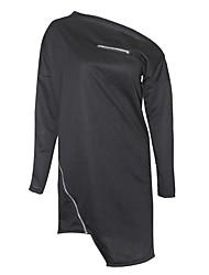 Women's Casual/Daily Club Sexy Simple Fashion Zipper Sheath DressSolid One Shoulder Asymmetrical Long Sleeve Mid Rise