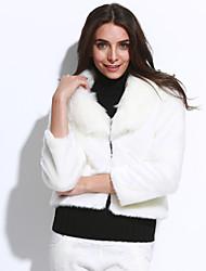 Женский Однотонный Пальто с мехом Зима Длинный рукав,Искусственный мех