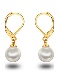 Hoop Earrings Pearl Pearl Sterling Silver Platinum Plated Gold/White Silver-Black Jewelry Wedding Party Daily Casual 1 pair