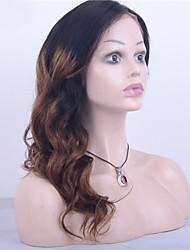 grado 9a malese vergine dell'onda del corpo dei capelli anteriore del merletto parrucca ombre di due toni parrucca nera / marrone scuro