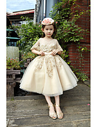 Ball Gown Tea-length Flower Girl Dress - Lace Tulle V-neck with Beading Lace Sash / Ribbon Sequins