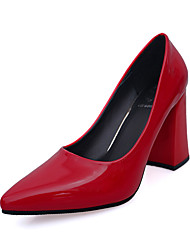 Women's Heels Fall / Winter Comfort PU Casual Low Heel Slip-on Black / Pink / Red / White Others