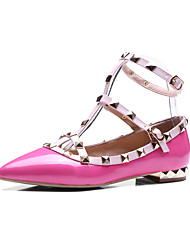 Women's Flats Spring Fall Mary Jane PU Casual Party & Evening Low Heel Rivet Black Beige Rose Pink
