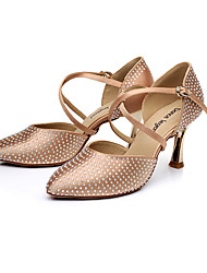 Damen-High Heels-Kleid-Satin-Stöckelabsatz-Andere D'Orsay und Zweiteiler-Rot Champagner