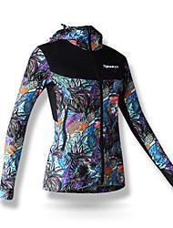 SPAKCT® Fahrradjacke Damen Langärmelige Fahhrad Rasche Trocknung Windundurchlässig Jacke 100% Polyester Blumen / Pflanzen Herbst Winter