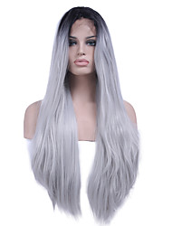 Heat Resistant Synthetic Lace Front Wig Straight Hair Ombre Two Tone Black/White Color Synthetic Hair Fiber Wigs For Woman