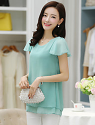 Women's Casual Plus Sizes Inelastic Short Sleeve Regular Blouse (Chiffon)
