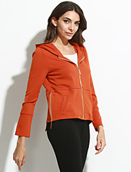 Women's Going out Simple Fall JacketsSolid Hooded Long Sleeve Red / Black / Brown / Green Polyester Medium
