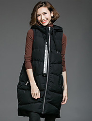 Women's Going out Casual/Daily Boho Coat,Letter Hooded Sleeveless Spring Fall Black Polyester Medium