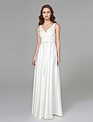 LAN TING BRIDE Sheath / Column Wedding Dress - Elegant & Luxurious Open Back Floor-length V-neck Satin with Appliques Beading Button