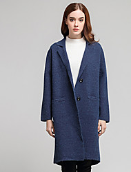 Women's Going out Casual/Daily Sexy Coat,Solid Stand Long Sleeve Spring Blue Acrylic Medium