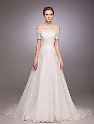 A-ligne off-the-shoulder court train robe de mariée en dentelle avec dentelle