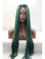 High Quality Synthetic Hair Dark Green Ombre Wigs For Women Deep Part Long Silk Straight Synthetic Lace Front Wig Heat Resistant