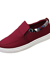 Men's Loafers & Slip-Ons Spring Fall Comfort Fabric Casual Flat Heel Stitching Lace Black Blue Red Walking
