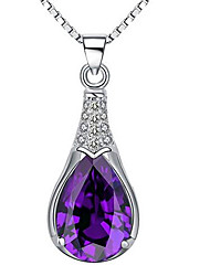 Women's Pendant Necklaces Crystal Sterling Silver Jewelry Basic Silver Jewelry Casual 1pc